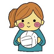 バレーボールを持つ女の子