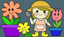 園芸作業をする女の子のイラスト